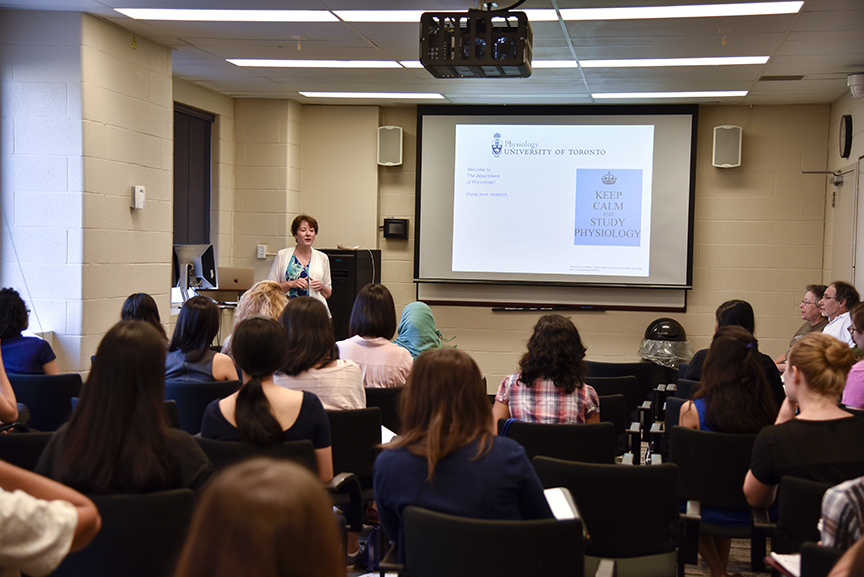 Dr. Denise Belsham welcoming the new trainees